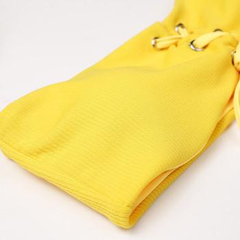 Семпъл дамски бански от две части в жълт цвят с връзки