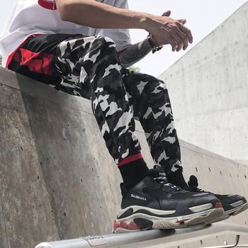 Мъжки спортен анцунг в тъмен цвят с камуфлажни елементи
