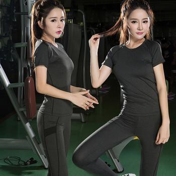 Дамски спортен екип-тениска с къс ръкав и клин в два цвята