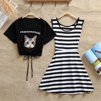 Дамски комплект рокля и тениска с щампа в два цвята