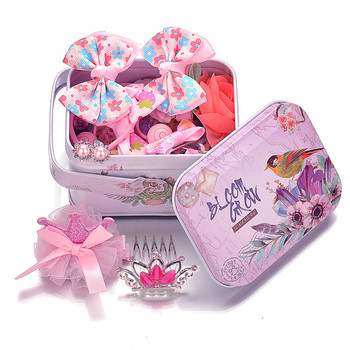 Кутия с аксесоари за коса за момичета включваща  различни фиби и ластици