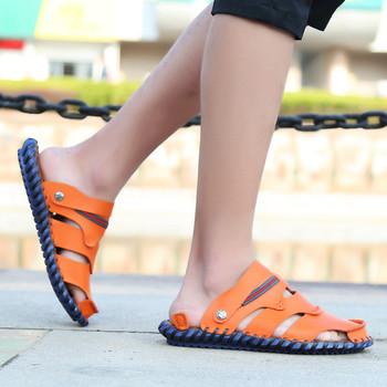 Мъжки стилни сандали от еко кожа в три цвята с външен шев