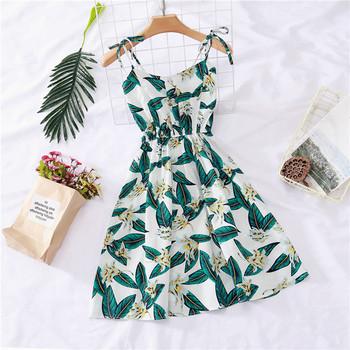 Дамска рокля с тънки презрамки и флорален мотив в различни цветове