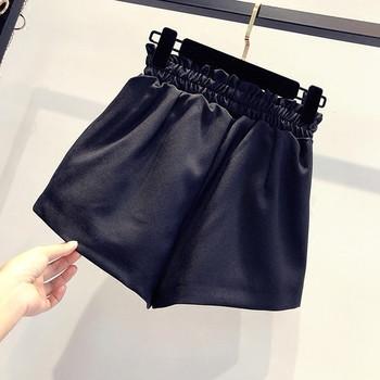 Дамски къси панталони в два цвята с еластична талия и метални елементи