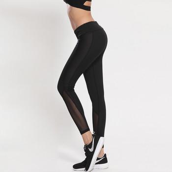 Спортен дамски клин в черен цвят с мрежа