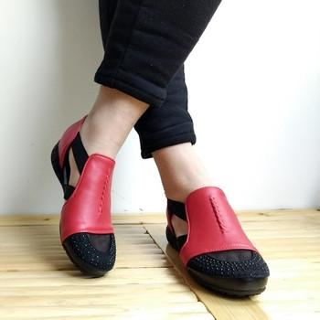 Дамски затворени сандали с мрежа в няколко цвята