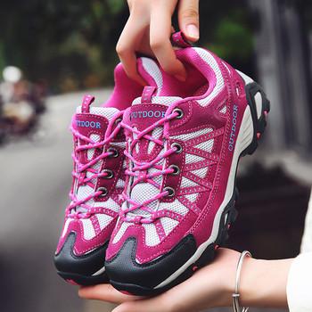 Туристически дамски обувки с кожен елемент и връзки в три цвята
