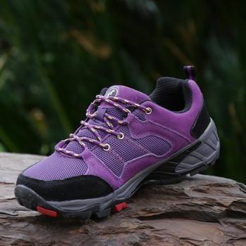 Дамски туристически обувки с връзки в лилав цвят