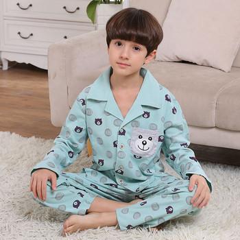 Памучна детска пижама за момчета с с дълъг ръкав-риза и дълги панталони в пет цвята
