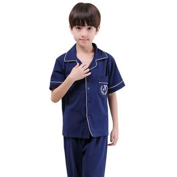 Удобна детска памучна пижама с къс ръкав риза и дълги панталони в пет цвята