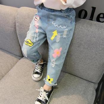 Παιδικά μοντέρνα τζιν για κορίτσια με ελαστική μέση και εφαρμογές ... 6f085204755