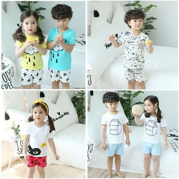 Детска пижама за лятото подходяща за момичта и момчетас апликация  в няколко цвята