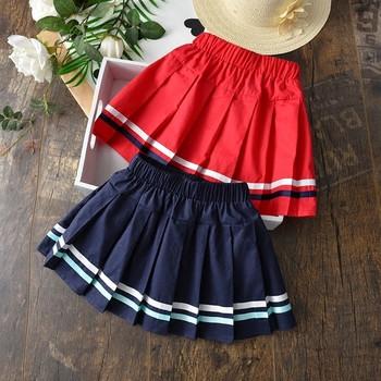 Детска плисирана пола за момичета в тъмносин и червен цвят