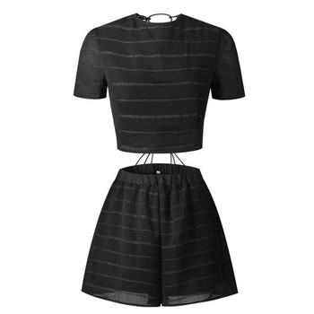 НОВ дамски комплект за лятото от две части- къси панталони с висока талия и блуза с къс ръкав в два цвята