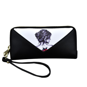 Γυναικείο μεγάλο πορτοφόλι με φερμουάρ και όμορφη εφαρμογή
