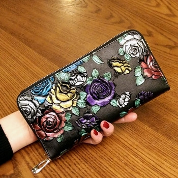 Μοντέρνο γυναικείο πορτοφόλι με φερμουάρ και floral διακόσμηση σε διάφορα χρώματα
