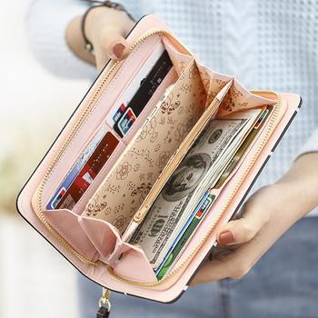 Μεγάλο γυναικείο πορτοφόλι  από οικολογικές δερμάτινες εφαρμογές
