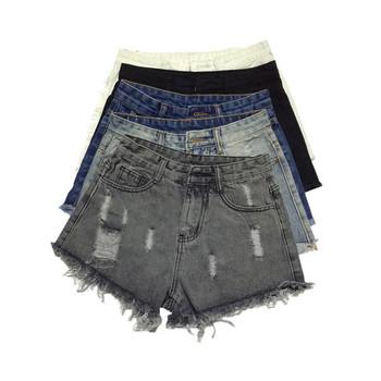 Къси дамски накъсани дънки с висока талия в 5 цвята