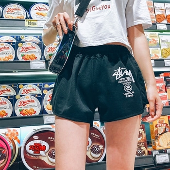 Къси дамски шорти с ластик и надпис