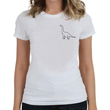 Нов модел дамска тениска с О-образно деколте и щампа в 2 цвята