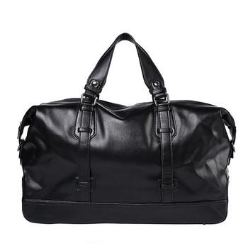 Унисекс черен сак с къси и дълги дръжки от еко кожа