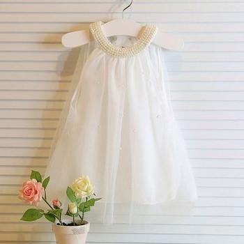 Детска тюлена рокля с декоративни мъниста в два цвята