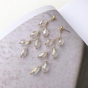 Дълги дамски обеци с прозрачни камъни