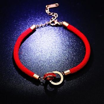 Дамска ежедневна гривна в червен цвят с декоративни камъни
