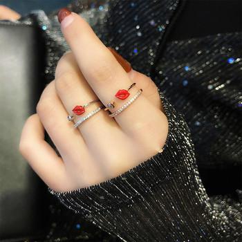 Дамски пръстен с декоративни камъни - Целувка