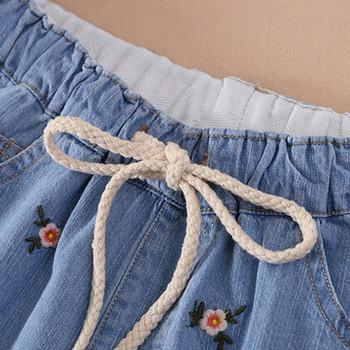 b9817a14e08 Καθημερινά παιδικά σορτς τζιν για κορίτσια με κεντήματα και κορδόνια ...