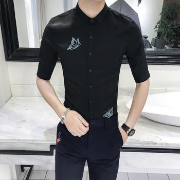 Μοντέρνο ανδρικό πουκάμισο με κεντήματα και μανίκια 3 4 σε δύο χρώματα d0c7deb26bf