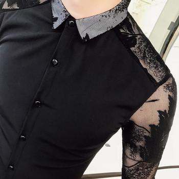 Ανδρικό πουκάμισο με διαφανή μανίκια λεπτομέρειες - Λεπτό μοντέλο ... 862411fcd59