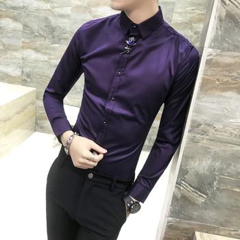 331f616c8104 Καθαρό σατέν πουκάμισο ανδρών με μακριά μανίκια σε διάφορα χρώματα ...