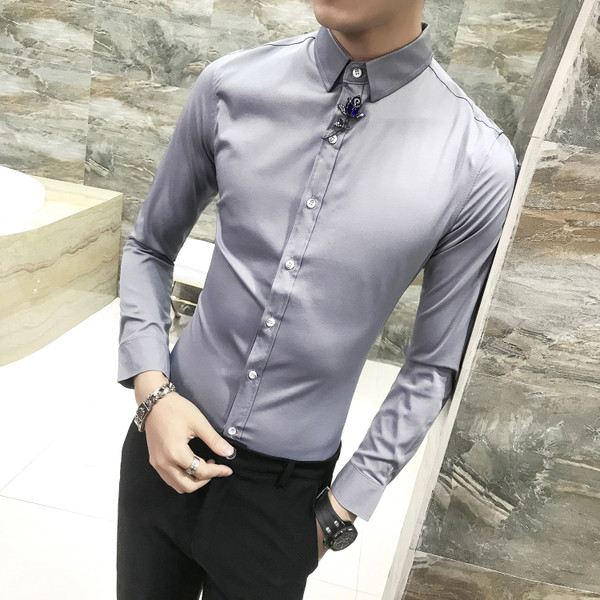 1f8a39c5d87 Καθαρό σατέν πουκάμισο ανδρών με μακριά μανίκια σε διάφορα χρώματα -  Badu.gr Ο κόσμος στα χέρια σου