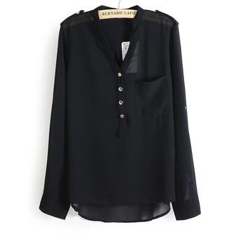 Дамска риза от шифон с 3/4 ръкав и копчета в няколко цвята