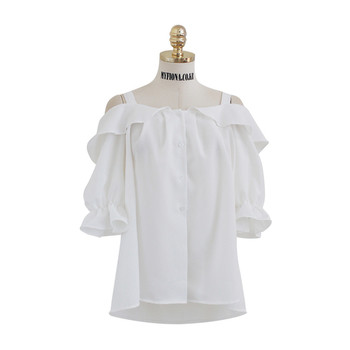 Дамска шифонена блуза с отворени рамене и 3/4 ръкав