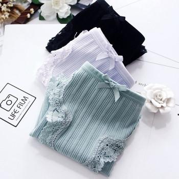 Дамско памучно бельо с дантела в няколкло цвята