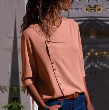 НОВА модерна дамска риза със странично закопчаване в седем цвята