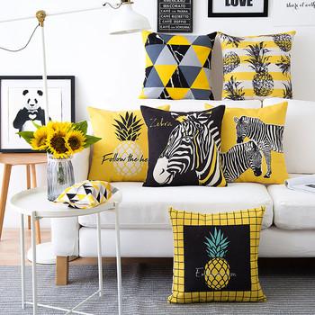 Калъфки за декоративни възглавници в жълт цвят с различна щампа - 1 брой