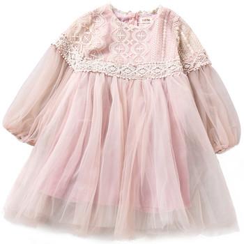 Κομψό παιδικό φόρεμα με τούλι και δαντέλα σε ροζ χρώμα - Badu.gr Ο ... 8532aaebc83