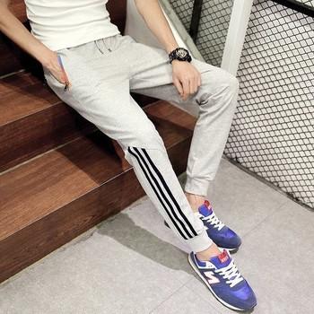 Памучно спортно мъжко долнище с кант в три цвята