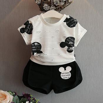 Детски спортен комплект за момичета - къси панталони и тениска с апликация