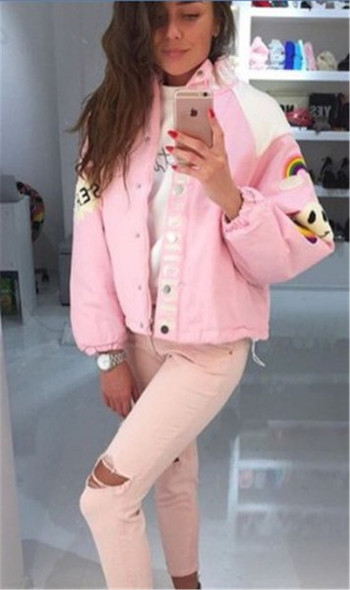 Дамско розово яке с цветна бродерия