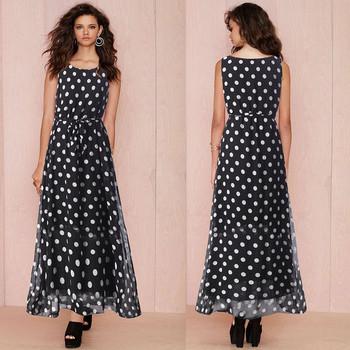 Ефирна дамска дълга рокля с О-образно деколте