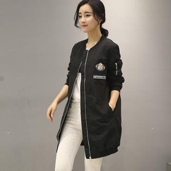 Μοντέρνο καθημερινό γυναικείο μακρύ μπουφάν με μακριά μανίκια