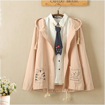 Модерно дамско яке с качулка и апликация на джобовете - два цвята