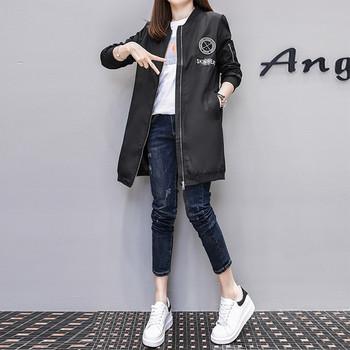Дълго дамско яке за есента в зелен,бял и черен цвят