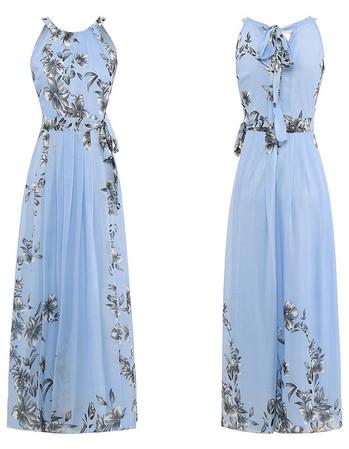 Нежна дамска дълга рокля с флорални мотиви в няколко цвята