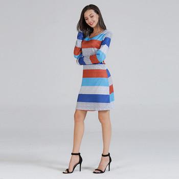 Ежедневна дамска памучна  рокля с  О-образно деколте и дълъг ръкав