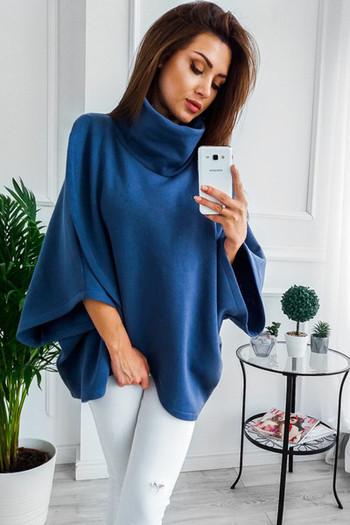 Модерна дамска блуза с висока яка и 3/4 ръкави в няколко цвята